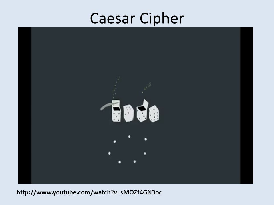 Caesar Cipher http://www.youtube.com/watch?v=sMOZf4GN3oc