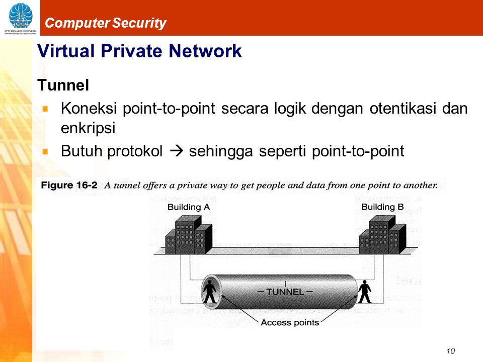 10 Computer Security Virtual Private Network Tunnel Koneksi point-to-point secara logik dengan otentikasi dan enkripsi Butuh protokol  sehingga seper