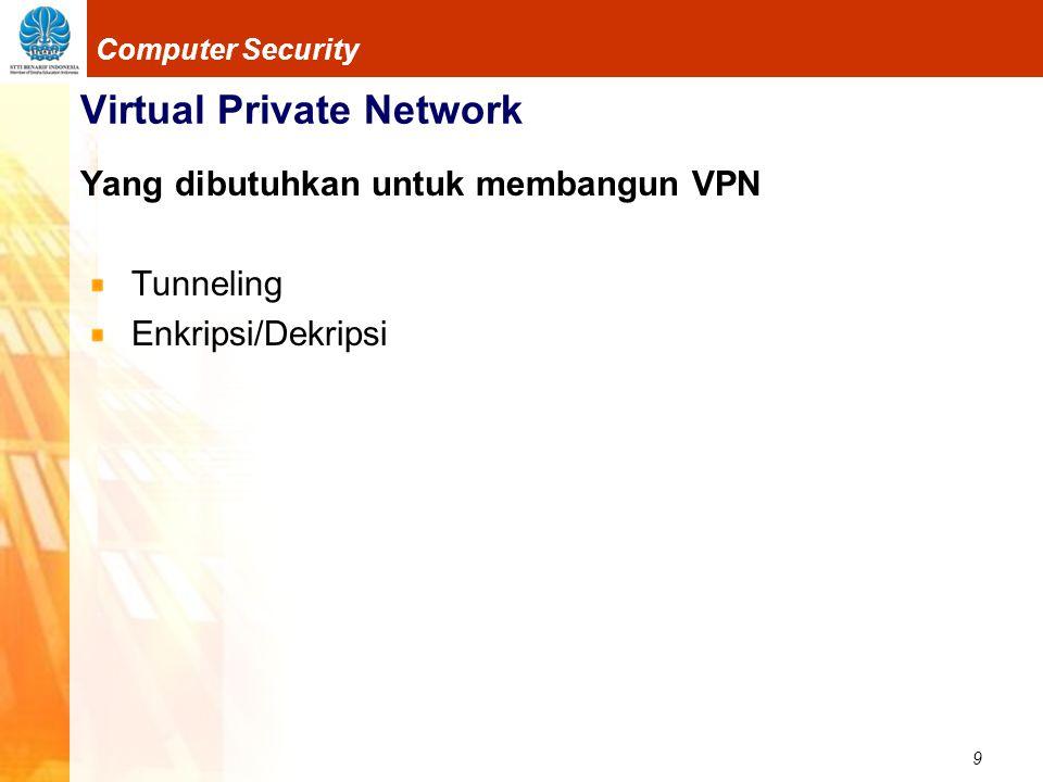 10 Computer Security Virtual Private Network Tunnel Koneksi point-to-point secara logik dengan otentikasi dan enkripsi Butuh protokol  sehingga seperti point-to-point