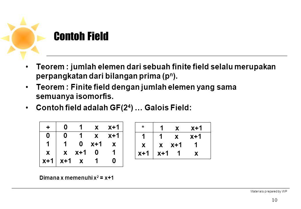 Materials prepared by WP 10 Contoh Field Teorem : jumlah elemen dari sebuah finite field selalu merupakan perpangkatan dari bilangan prima (p n ). Teo