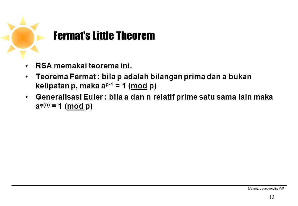 Materials prepared by WP 13 Fermat's Little Theorem RSA memakai teorema ini. Teorema Fermat : bila p adalah bilangan prima dan a bukan kelipatan p, ma