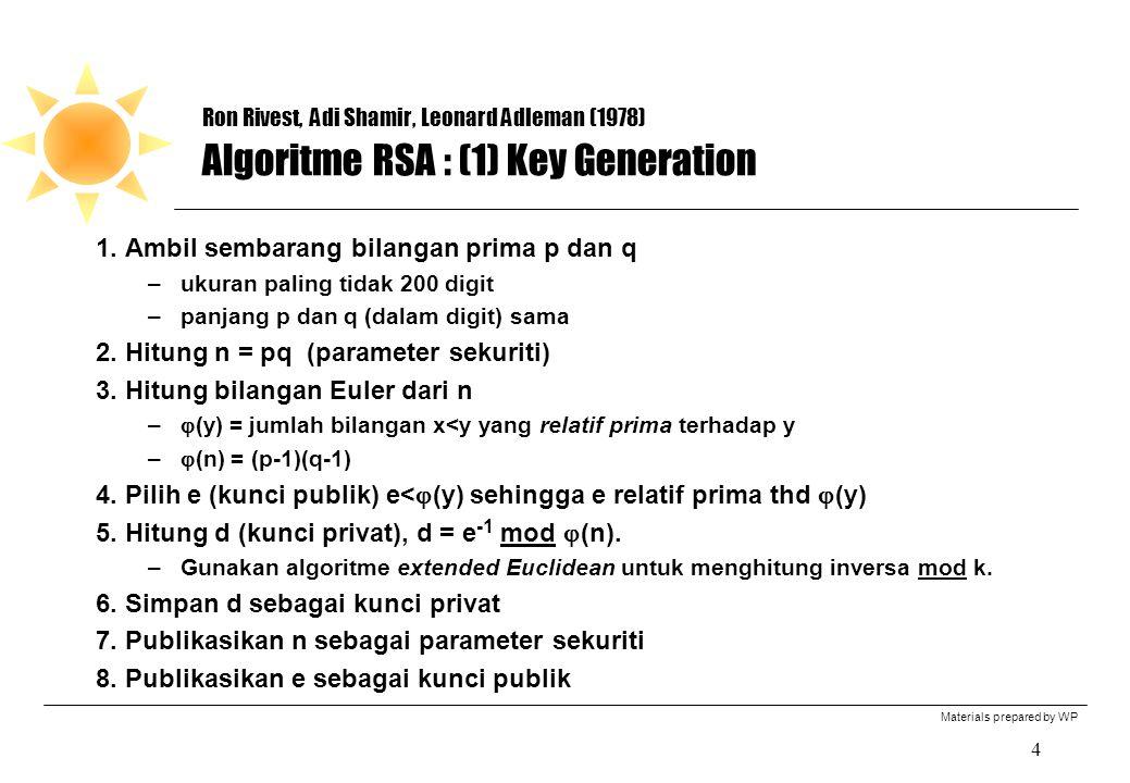 Materials prepared by WP 4 Ron Rivest, Adi Shamir, Leonard Adleman (1978) Algoritme RSA : (1) Key Generation 1. Ambil sembarang bilangan prima p dan q