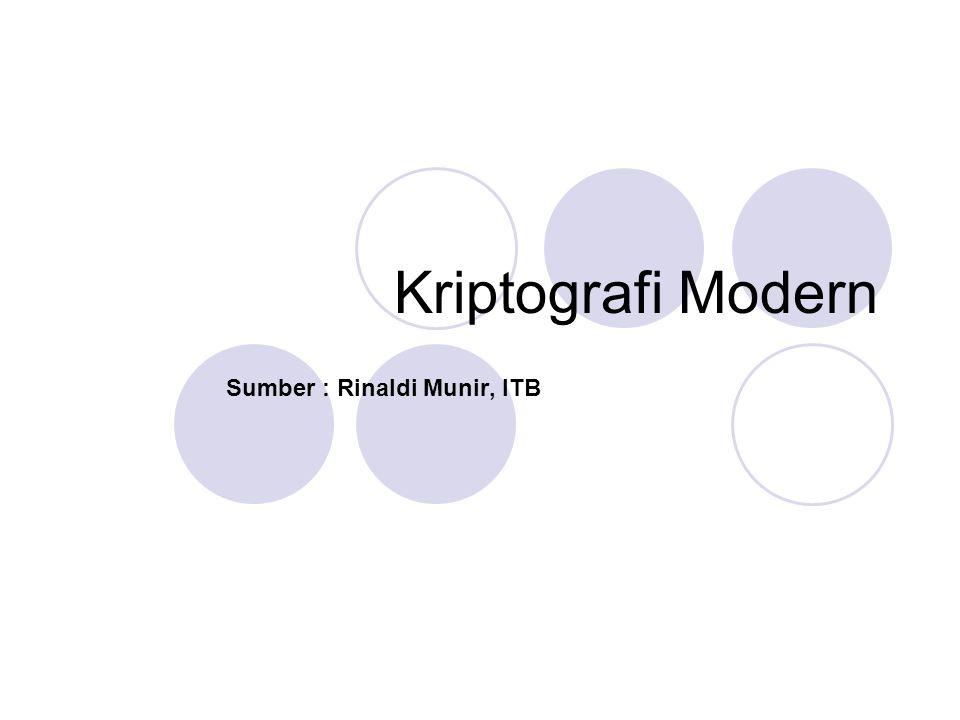 Kriptografi Modern Sumber : Rinaldi Munir, ITB