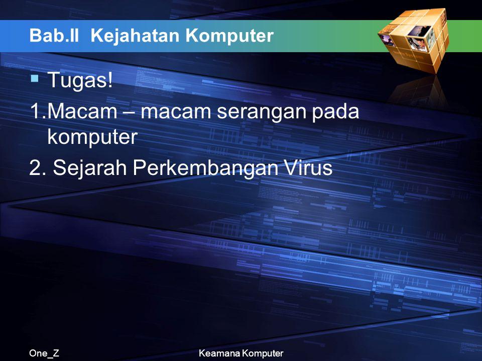 One_ZKeamana Komputer Bab.II Kejahatan Komputer  Tugas! 1.Macam – macam serangan pada komputer 2. Sejarah Perkembangan Virus