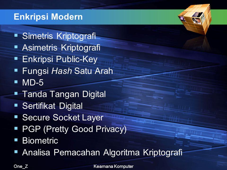 One_ZKeamana Komputer Enkripsi Modern  Simetris Kriptografi  Asimetris Kriptografi  Enkripsi Public-Key  Fungsi Hash Satu Arah  MD-5  Tanda Tang