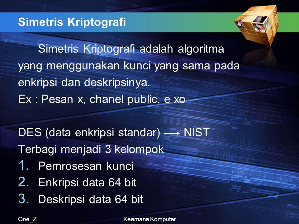 One_ZKeamana Komputer Simetris Kriptografi Simetris Kriptografi adalah algoritma yang menggunakan kunci yang sama pada enkripsi dan deskripsinya. Ex :