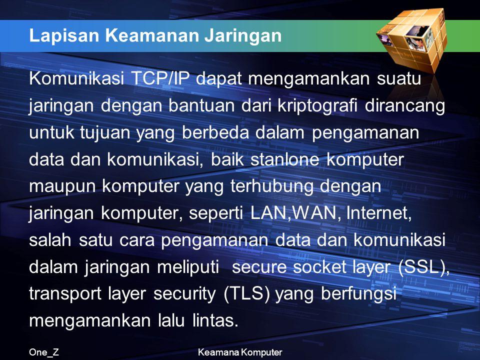 One_ZKeamana Komputer Lapisan Keamanan Jaringan Komunikasi TCP/IP dapat mengamankan suatu jaringan dengan bantuan dari kriptografi dirancang untuk tuj