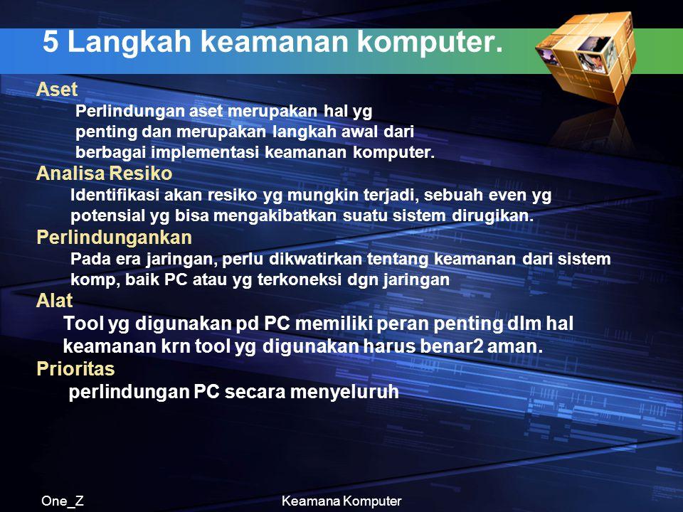 One_ZKeamana Komputer 5 Langkah keamanan komputer. Aset Perlindungan aset merupakan hal yg penting dan merupakan langkah awal dari berbagai implementa