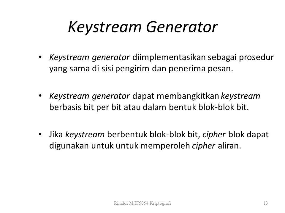 Keystream Generator Keystream generator diimplementasikan sebagai prosedur yang sama di sisi pengirim dan penerima pesan. Keystream generator dapat me