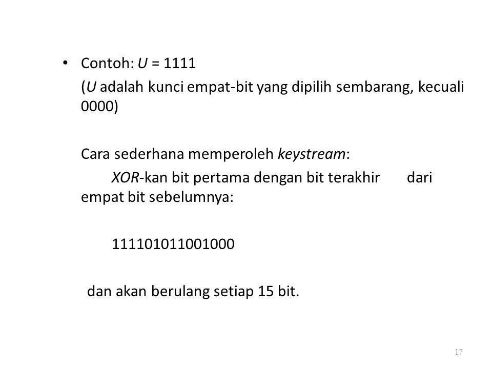 Contoh: U = 1111 (U adalah kunci empat-bit yang dipilih sembarang, kecuali 0000) Cara sederhana memperoleh keystream: XOR-kan bit pertama dengan bit t