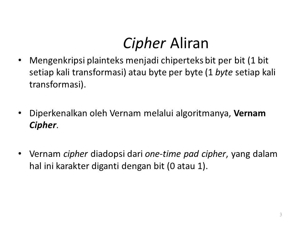 Cipher Aliran Mengenkripsi plainteks menjadi chiperteks bit per bit (1 bit setiap kali transformasi) atau byte per byte (1 byte setiap kali transforma