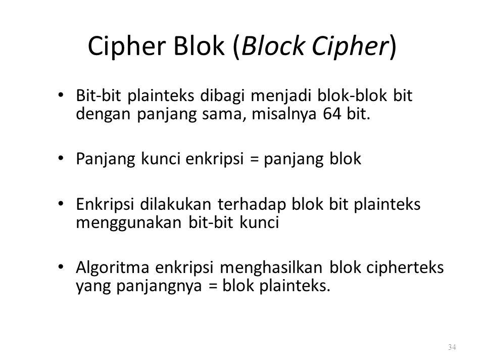 Cipher Blok (Block Cipher) Bit-bit plainteks dibagi menjadi blok-blok bit dengan panjang sama, misalnya 64 bit. Panjang kunci enkripsi = panjang blok