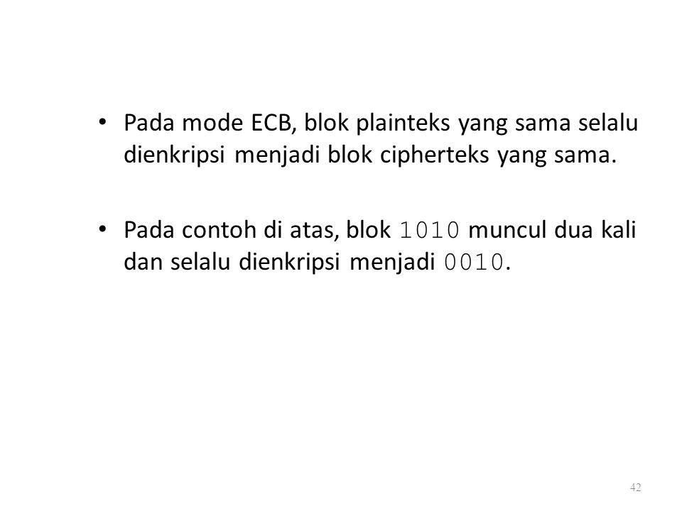 Pada mode ECB, blok plainteks yang sama selalu dienkripsi menjadi blok cipherteks yang sama. Pada contoh di atas, blok 1010 muncul dua kali dan selalu