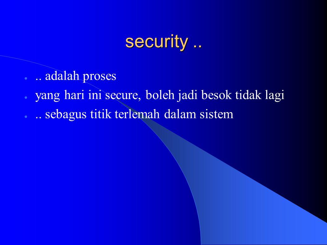 security..●.. adalah proses ● yang hari ini secure, boleh jadi besok tidak lagi ●..