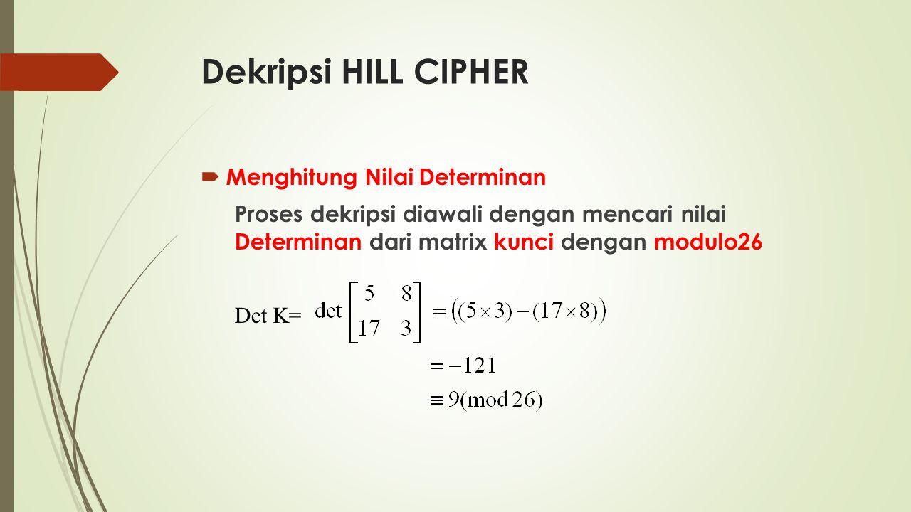 Dekripsi HILL CIPHER  Menghitung Nilai Determinan Proses dekripsi diawali dengan mencari nilai Determinan dari matrix kunci dengan modulo26 Det K=