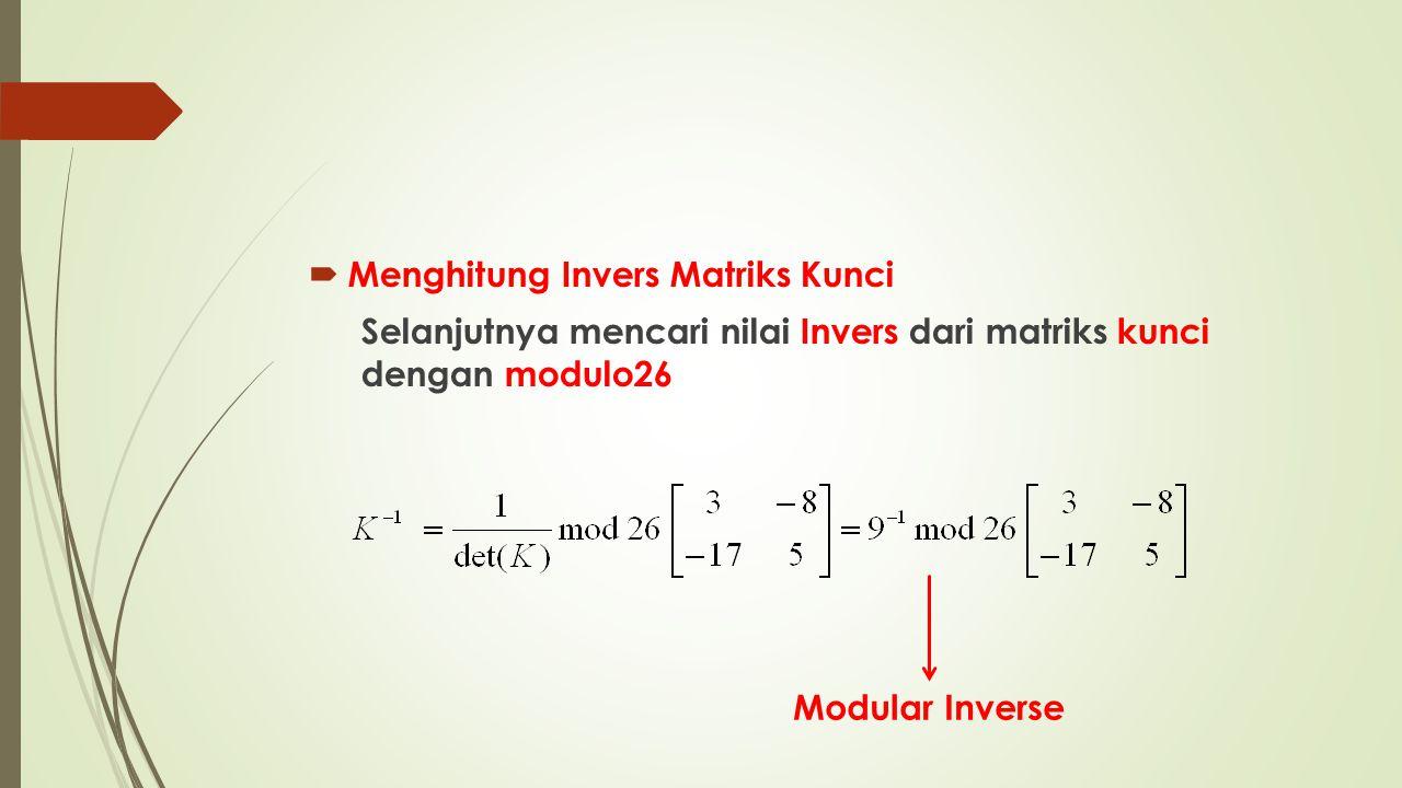  Menghitung Invers Matriks Kunci Selanjutnya mencari nilai Invers dari matriks kunci dengan modulo26 Modular Inverse