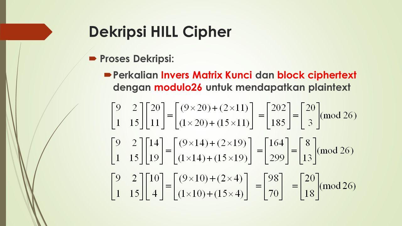 Dekripsi HILL Cipher  Proses Dekripsi:  Perkalian Invers Matrix Kunci dan block ciphertext dengan modulo26 untuk mendapatkan plaintext