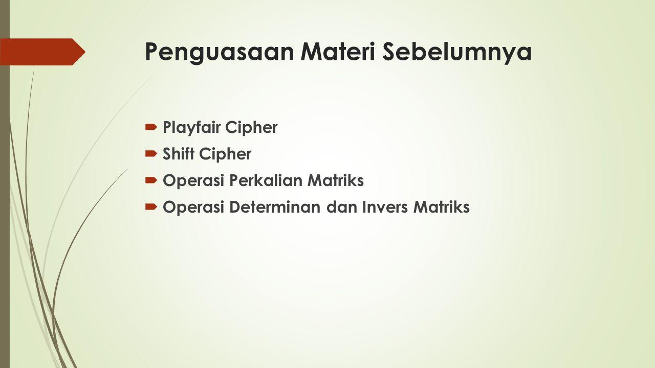 Penguasaan Materi Sebelumnya  Playfair Cipher  Shift Cipher  Operasi Perkalian Matriks  Operasi Determinan dan Invers Matriks