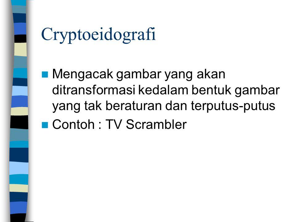 Cryptoeidografi Mengacak gambar yang akan ditransformasi kedalam bentuk gambar yang tak beraturan dan terputus-putus Contoh : TV Scrambler
