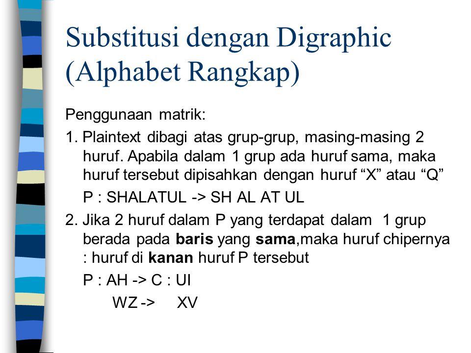 Substitusi dengan Digraphic (Alphabet Rangkap) Penggunaan matrik: 1.