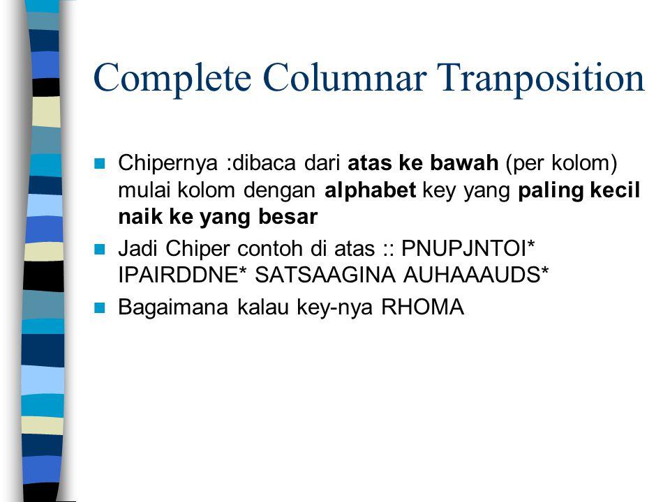 Complete Columnar Tranposition Chipernya :dibaca dari atas ke bawah (per kolom) mulai kolom dengan alphabet key yang paling kecil naik ke yang besar Jadi Chiper contoh di atas :: PNUPJNTOI* IPAIRDDNE* SATSAAGINA AUHAAAUDS* Bagaimana kalau key-nya RHOMA