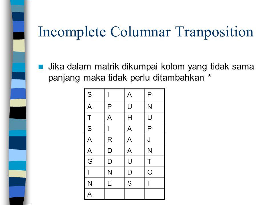 Incomplete Columnar Tranposition Jika dalam matrik dikumpai kolom yang tidak sama panjang maka tidak perlu ditambahkan * SIAP APUN TAHU SIAP ARAJ ADAN GDUT INDO NESI A