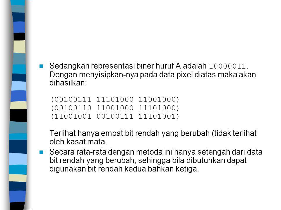 Sedangkan representasi biner huruf A adalah 10000011.