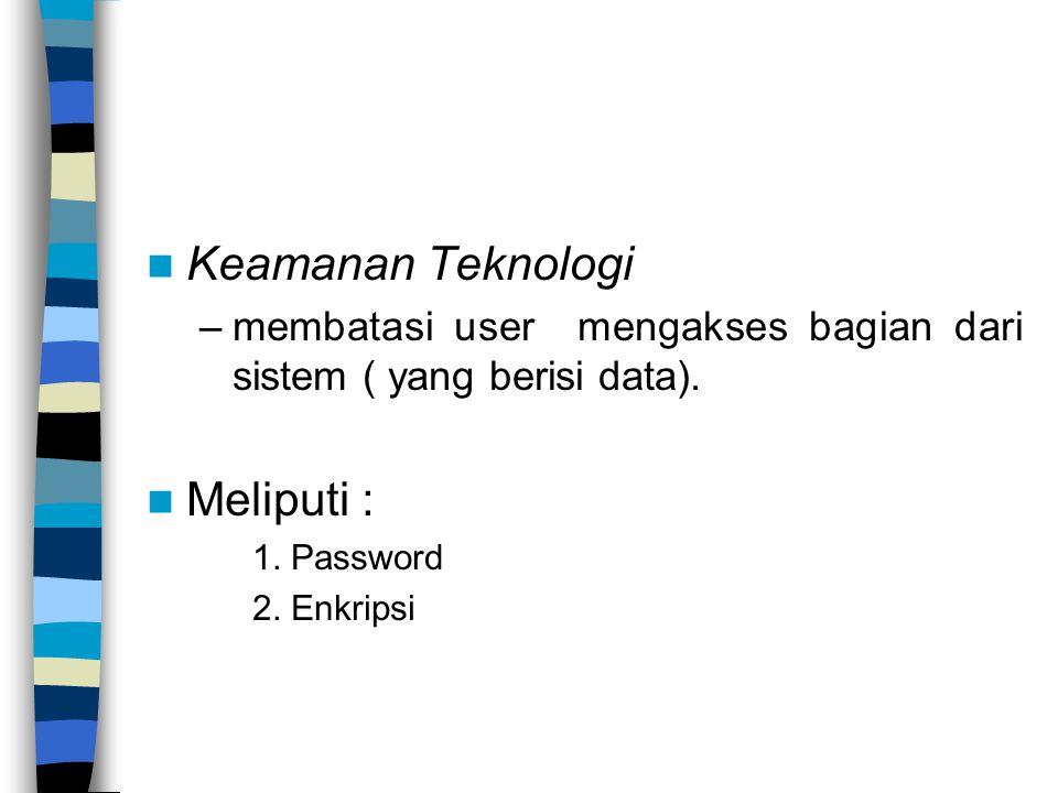 Keamanan Teknologi –membatasi user mengakses bagian dari sistem ( yang berisi data).