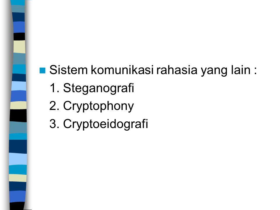 Sistem komunikasi rahasia yang lain : 1. Steganografi 2. Cryptophony 3. Cryptoeidografi
