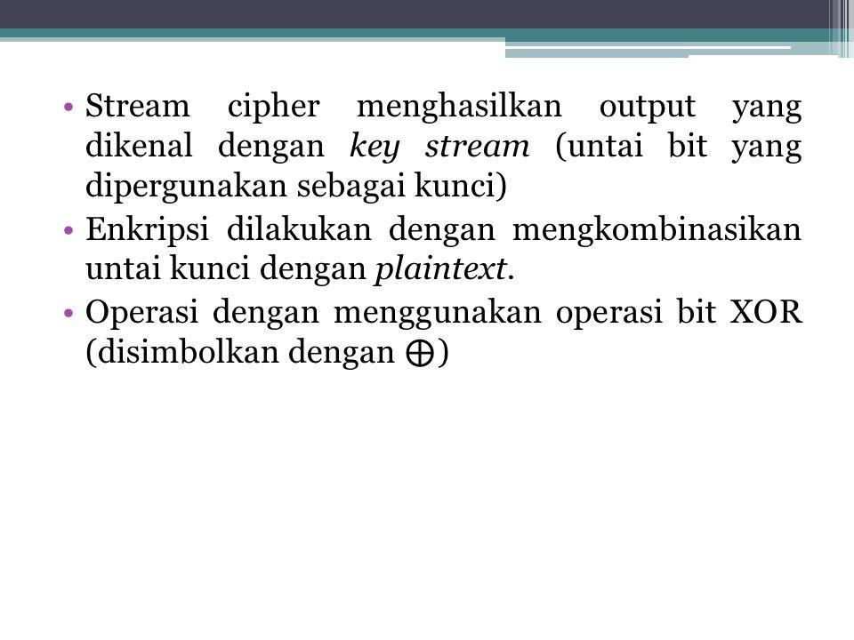 Stream cipher menghasilkan output yang dikenal dengan key stream (untai bit yang dipergunakan sebagai kunci) Enkripsi dilakukan dengan mengkombinasika