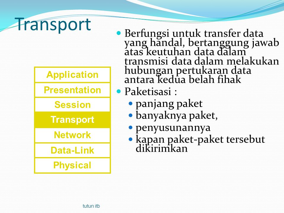 Paket TCP 12345678910111213141516 Source port Destination port Sequence number Acknowledge number Header length Reserved UR G AC K PSHRSTSEQFIN Windows Checksum Urgent pointer Options Padding User data = besarnya tidak ditentukan Connection oriented Reliable Byte stream service tutun itb
