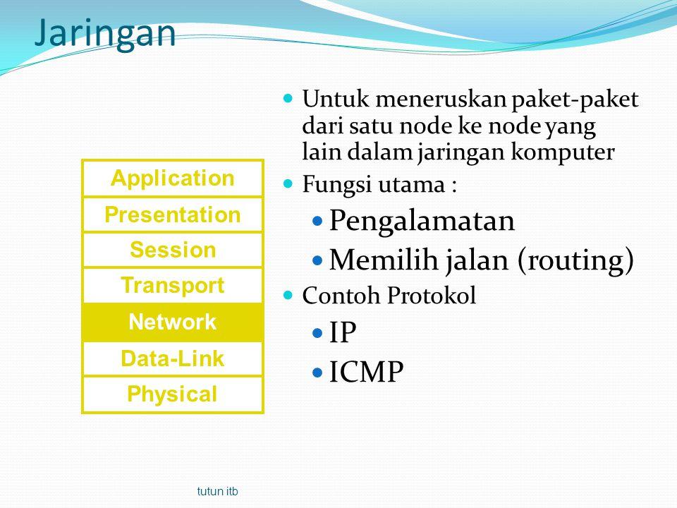 Internet Protocol Protokol paling populer dijagat raya Kelebihan: Mempunyai alamat sedunia/global (tidak ada alamat yang sama, unik) Mendukung banyak aplikasi (protokol lapis 7: FTP, HTTP, SNMP, dll) De facto standar protokol lapis 3 Ada 2 jenis IP : IP standar atau IP versi 4 (sejak 1970) dan IPv6 (mulai 199x) IPv4: 32 bit ≈ 4G alamat IPv6: 128 bit ≈ 256G 4 tutun itb