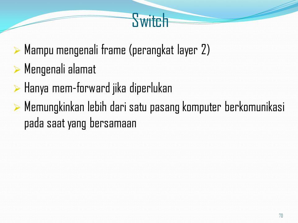 Perbedaan antara hub dan switch 71 Hub: shared media access Switch: selective access