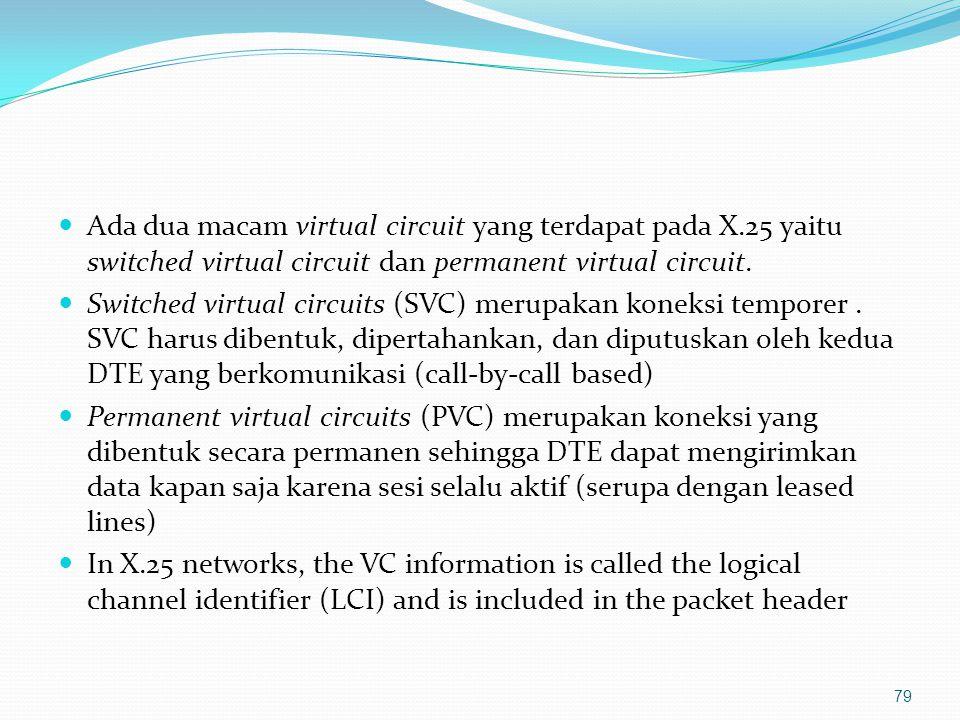 Frame relay Teknologi packet switching Connection-oriented Mendefinisikan interface antara perangkat user dengan perangkat jaringan Tidak mendefinisikan operasi (ruting) di dalam jaringan (diserahkan ke vendor) Scalable – kecepatan implementasi dapat dilakukan mulai 56 kbps sampai T1 (1.544 Mbps) atau bahkan T3 (45 Mbps) 80