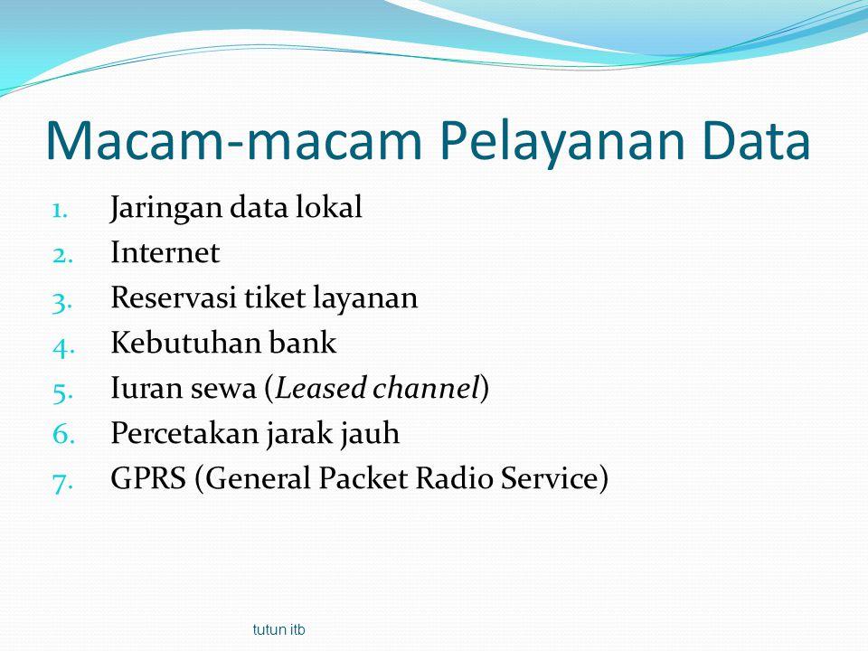 Macam-macam Pelayanan Data 1. Jaringan data lokal 2. Internet 3. Reservasi tiket layanan 4. Kebutuhan bank 5. Iuran sewa (Leased channel) 6. Percetaka