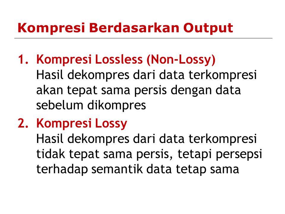 Kriteria Algoritma & Aplikasi Kompresi Kualitas data hasil enkoding: –ukuran lebih kecil, –data tidak rusak (untuk kompresi lossy) Ketepatan proses dekompresi data: –data hasil dekompresi tetap sama dengan data sebelum dikompres (kompresi loseless) Kecepatan, ratio, dan efisiensi proses kompresi & dekompresi