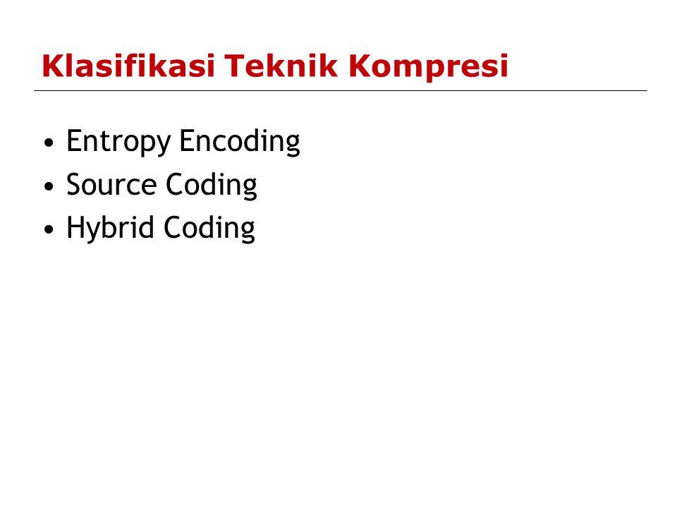 Entropy Encoding Bersifat lossless Tekniknya tidak berdasarkan media dengan spesifikasi dan karakteristik tertentu namun berdasarkan urutan data.