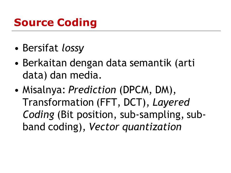 Keterbatasan Pengkodean Huffman  Rate selalu lebih besar dari 1.0 bit/sample  Predesain kode  Tabel kode tetap  Jika probabilitas berbeda dengan yang digunakan dalam desain, ekspansi data dapat terjadi  Versi praktek: - Implementasi two-pass - Blok adaptif (tabel kode per blok data) - Huffman rekursif (perubahan tabel kode secara kontinyu)