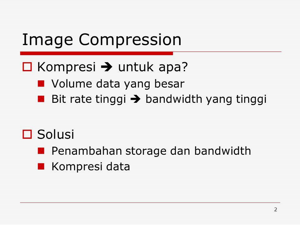 2 Image Compression  Kompresi  untuk apa? Volume data yang besar Bit rate tinggi  bandwidth yang tinggi  Solusi Penambahan storage dan bandwidth K