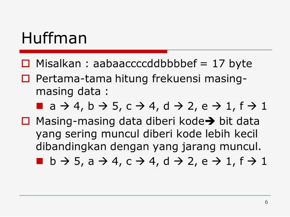 6 Huffman  Misalkan : aabaaccccddbbbbef = 17 byte  Pertama-tama hitung frekuensi masing- masing data : a  4, b  5, c  4, d  2, e  1, f  1  Masing-masing data diberi kode  bit data yang sering muncul diberi kode lebih kecil dibandingkan dengan yang jarang muncul.