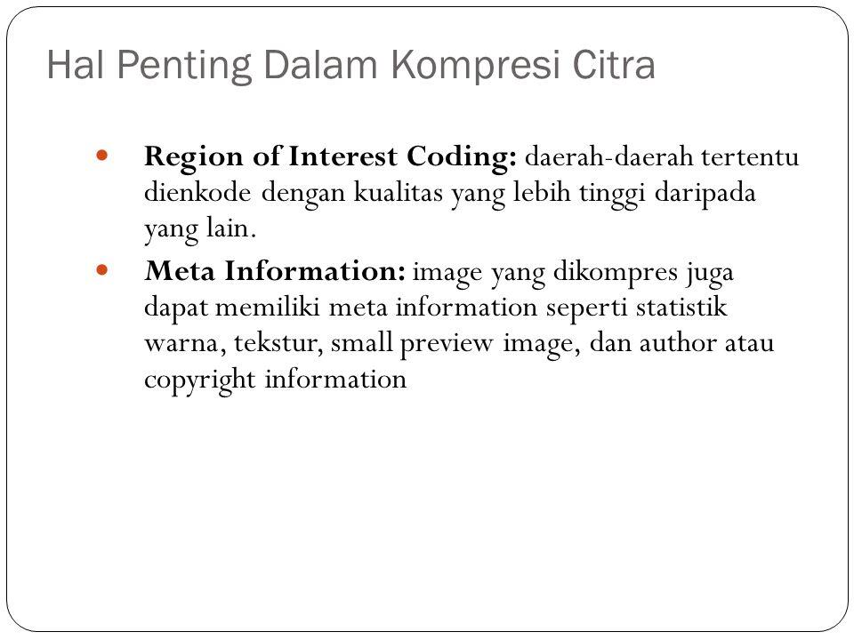 Hal Penting Dalam Kompresi Citra Region of Interest Coding: daerah-daerah tertentu dienkode dengan kualitas yang lebih tinggi daripada yang lain. Meta