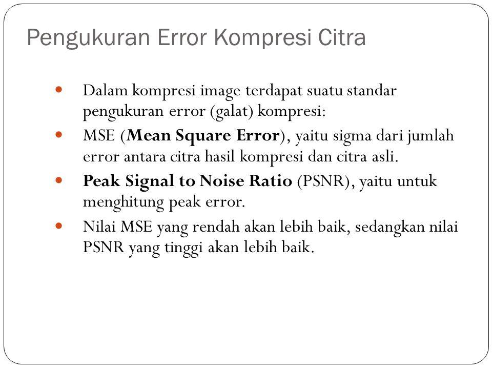Pengukuran Error Kompresi Citra Dalam kompresi image terdapat suatu standar pengukuran error (galat) kompresi: MSE (Mean Square Error), yaitu sigma da