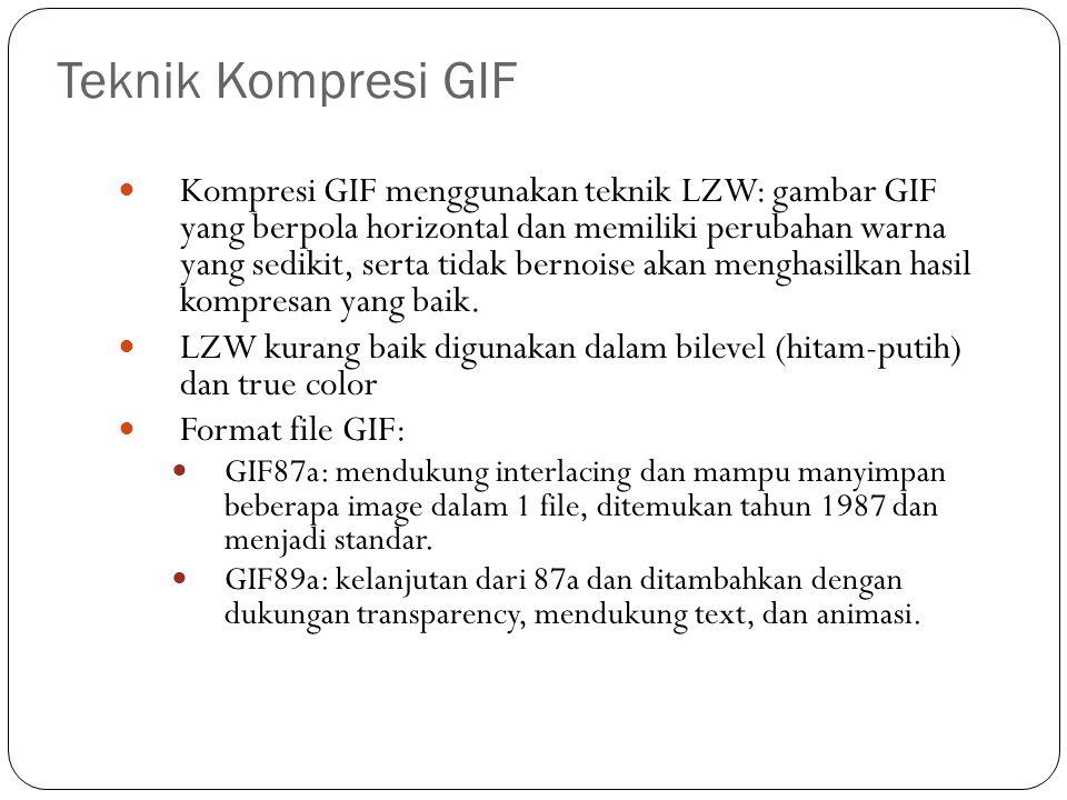 Teknik Kompresi GIF Kompresi GIF menggunakan teknik LZW: gambar GIF yang berpola horizontal dan memiliki perubahan warna yang sedikit, serta tidak ber