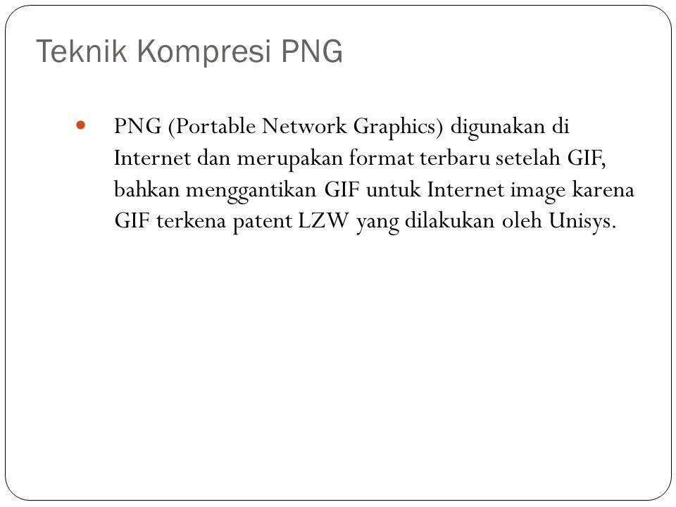 Teknik Kompresi PNG PNG (Portable Network Graphics) digunakan di Internet dan merupakan format terbaru setelah GIF, bahkan menggantikan GIF untuk Inte