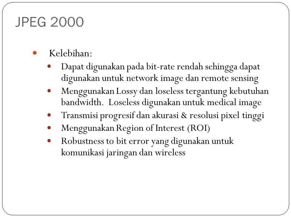 JPEG 2000 Kelebihan: Dapat digunakan pada bit-rate rendah sehingga dapat digunakan untuk network image dan remote sensing Menggunakan Lossy dan losele