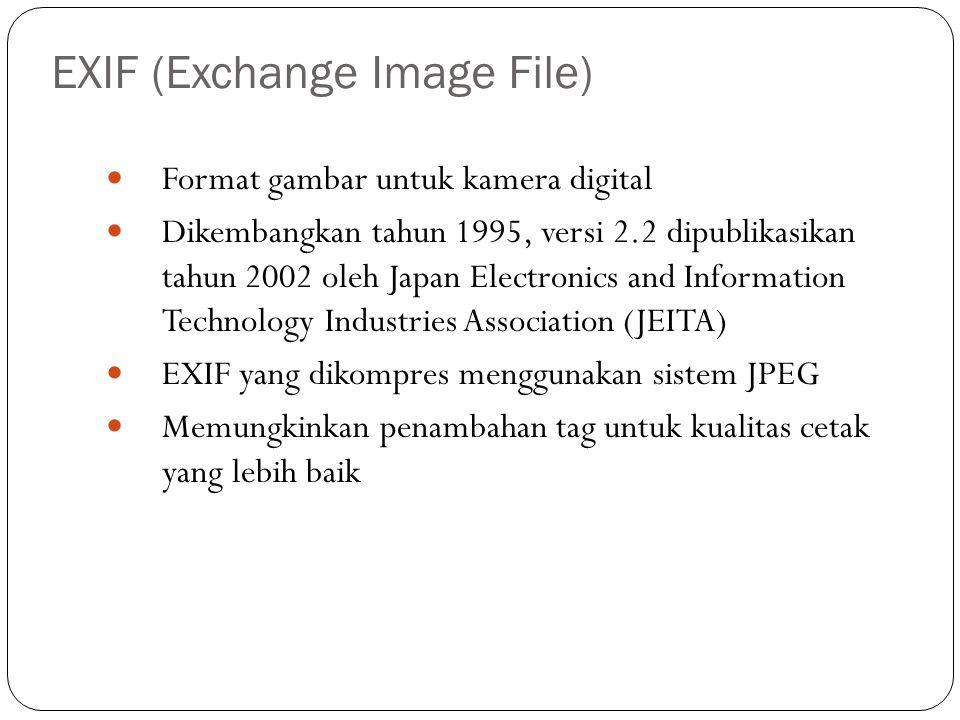 EXIF (Exchange Image File) Format gambar untuk kamera digital Dikembangkan tahun 1995, versi 2.2 dipublikasikan tahun 2002 oleh Japan Electronics and