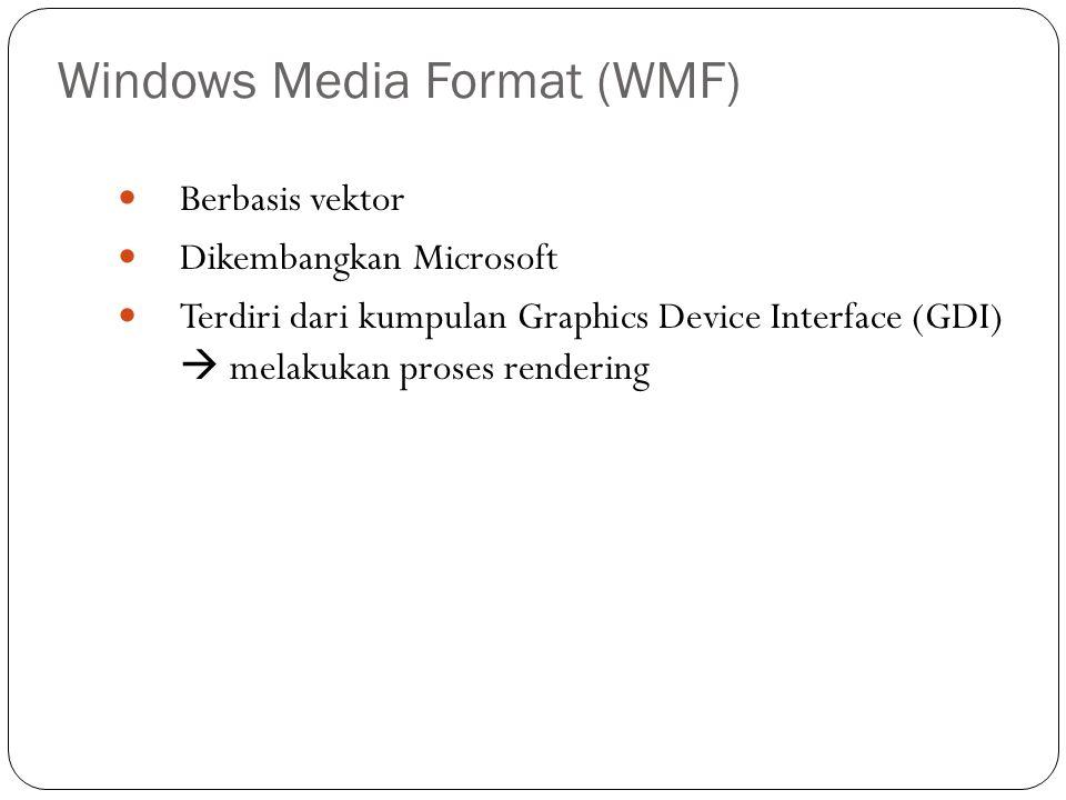 Windows Media Format (WMF) Berbasis vektor Dikembangkan Microsoft Terdiri dari kumpulan Graphics Device Interface (GDI)  melakukan proses rendering