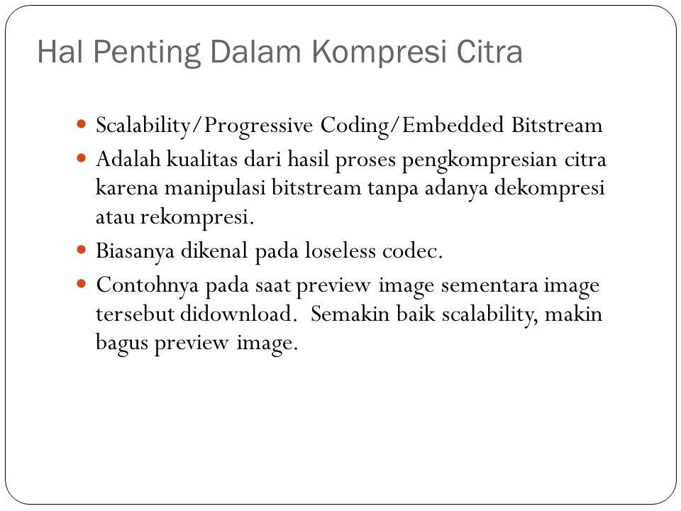 Hal Penting Dalam Kompresi Citra Scalability/Progressive Coding/Embedded Bitstream Adalah kualitas dari hasil proses pengkompresian citra karena manip