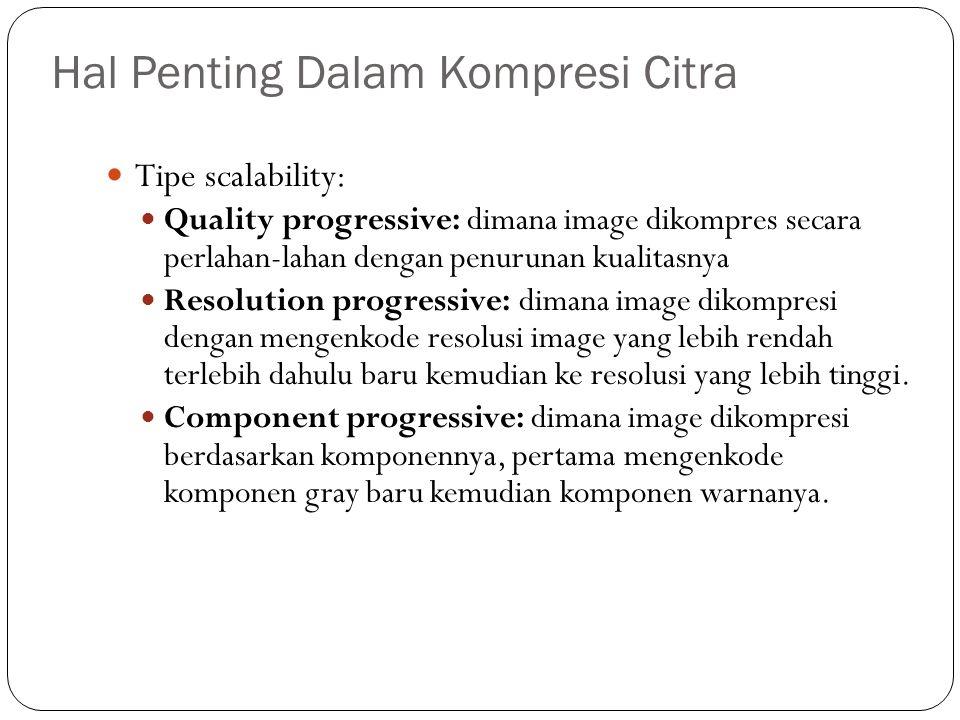 Hal Penting Dalam Kompresi Citra Tipe scalability: Quality progressive: dimana image dikompres secara perlahan-lahan dengan penurunan kualitasnya Reso