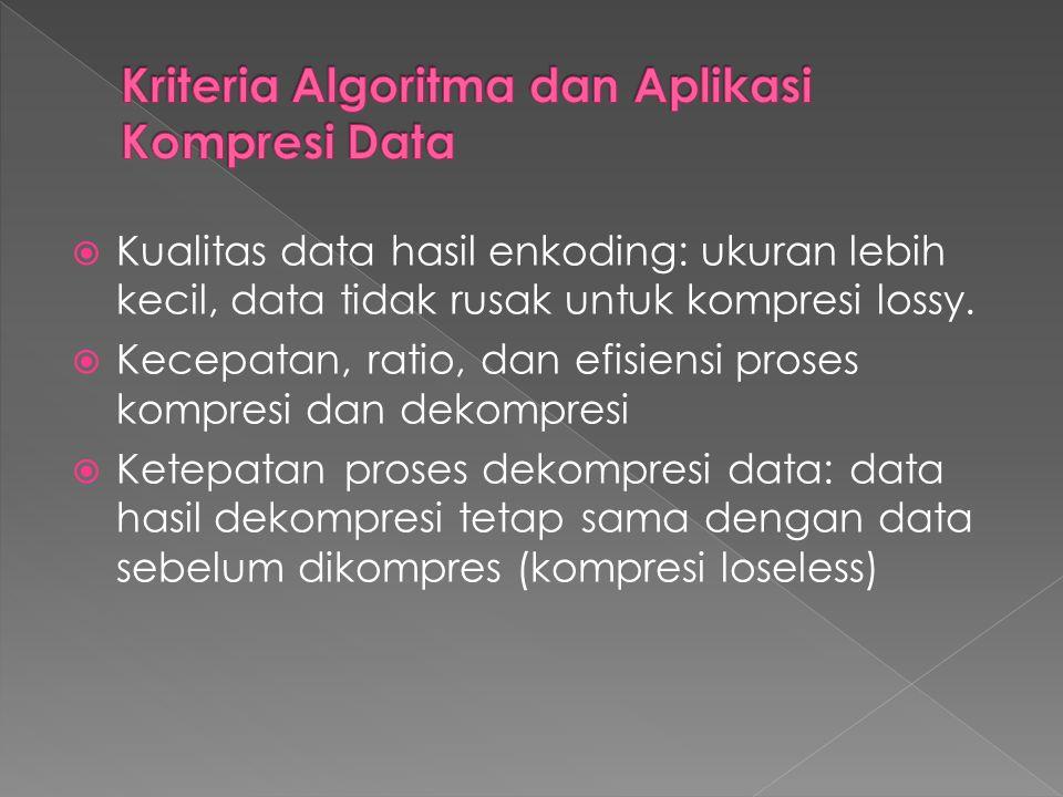  Kualitas data hasil enkoding: ukuran lebih kecil, data tidak rusak untuk kompresi lossy.  Kecepatan, ratio, dan efisiensi proses kompresi dan dekom